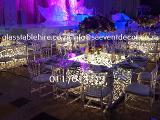 White CNC Sqaure Designer Table Bases with Glass Table Hire