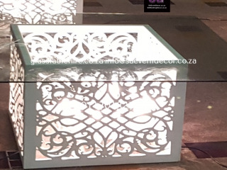 White CNC Laser Cut Designer Table Bases with Glass Table  Hire