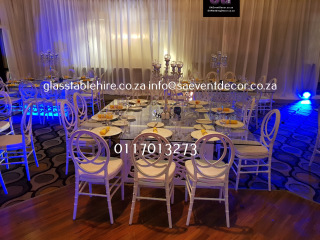White CNC Square Designer Table Bases with Glass Table Hire