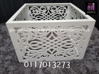 White CNC Square Table Base Furniture Hire