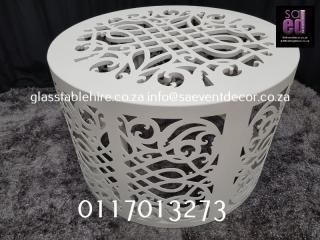 White CNC Round Table Base Furniture Rental