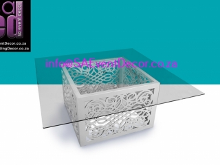 white CNC Laser Cut Square Designer Table Base Hire from SA Event Decor