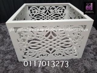 White CNC Square Table Base Furniture Hire