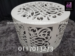 White CNC Round Table Base Furniture Rental