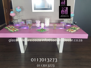 Pink High Gloss Rectangular Table Tops