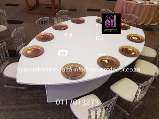 High Gloss Leaf Shaped White Tables