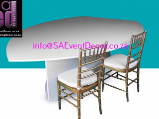 Leaf Shaped table Hire With Gold Tiffany Chair Hire