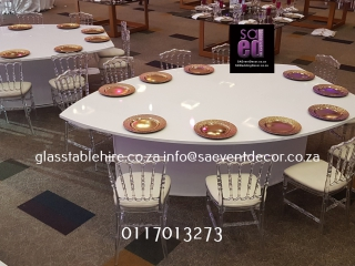 White High Gloss Leaf Shaped White Tables