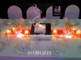 High Gloss Rectangular Tables with Frosted Glass Colourful LED Centre