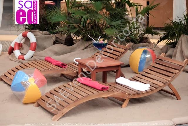 Beach function decor. Loungers
