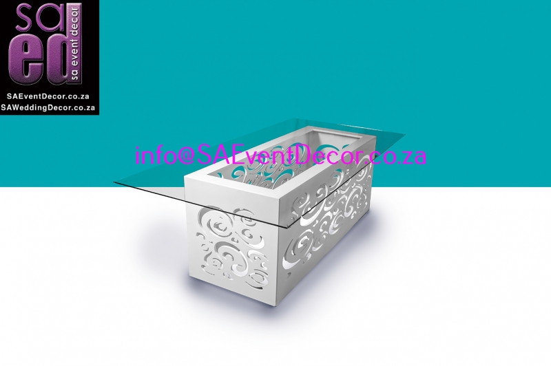 CNC White Rectangular Table Base Hire with Glass Top From SA Event Decor
