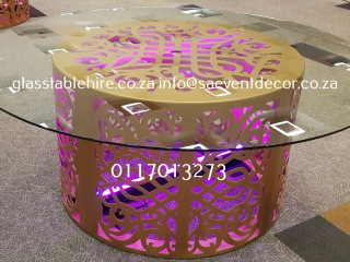 Gold Round  CNC Laser Cut Table Frame & Glass Table Hire