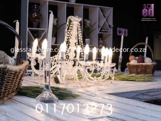 Vintage Crystal  Chandelier Rental and  Rustic White Washed Table Top Rentals