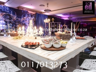 Whitewash Table Top Hire, Vintage Crystal Chandelier Hire, Champagne Themed Backdrop Hire
