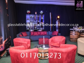 Red Tub Chair Lounge Hire, Wine Barrel Hire, Whiskey Themed Backdrop Hire, Glass Tables Hire