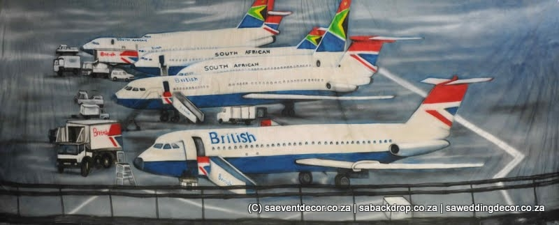 BacAir01 SAA BA Airplane O.R .Tambo Backdrop Hire