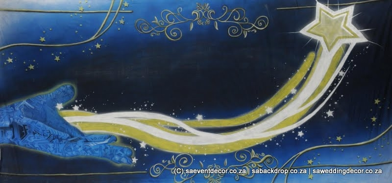 BacGal04 Galaxy Stars Moon Outer Space Themed Backdrop hire