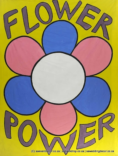 BacHip10 Hippy Flower Power Themed Backdrop hire