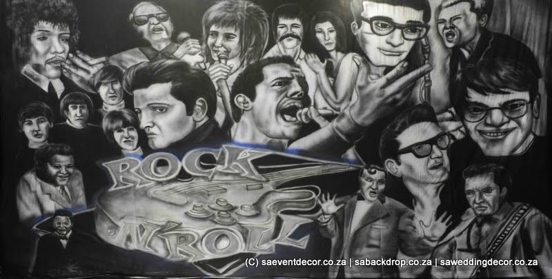 BacRoc03 Rock N Roll Sixties Icons Themed backdrop Hire
