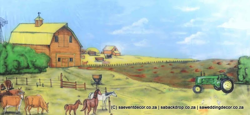 Bacfar01 Farm Yard Themed Backdrop hire