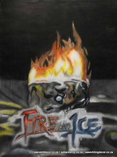 Bacfir01 Fire And Ice Volcano Island Themed Backdrop hire