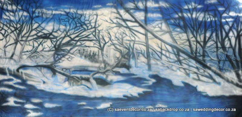 BacWin01 Winter Wonder Land Snow Backdrop Hire