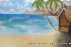 BacHaw05 Hawaii Beach Party Themed Backdrop hire