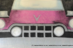 BacRoc04 Rock n Roll Sixties Pink Cadillac Themed backdrop Hire