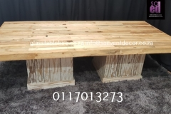 Rustic Table Top In Natural Wood  On White Plinths