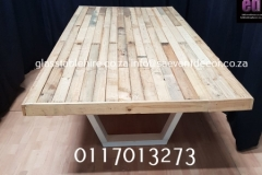 Rustic Table Top In Natural Wood With Designer  Table Frame In Steel