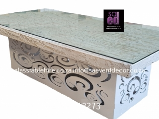 Rectangular Table Top In White Washed Table Top In Wood & A  Glass Top On CNC Laser Cut  Table Frame Measuring 2.4 X 2.1m